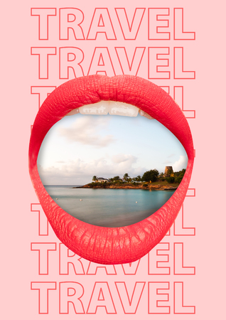 Thirst for adventure. Big female mouth with view of beach and sea against trendy coral background. Modern design. Contemporary art collage. Concept of chilling, summer resort, trip or journey.