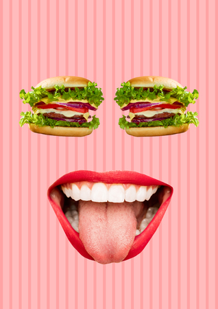 Happy being well fed or full. Face with burgers or sandwich as an eyes and mouth with red lips and white teeth. Modern design. Contemporary art collage. Concept of food, lunch, breakfest or fashion.