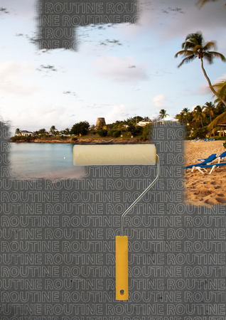 Routine. Dreaming while repairing. Adventures calling. Construction roller coloring wall in seas beach background. Modern design. Contemporary art collage. Concept of chilling, relaxing, summertime.