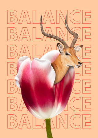 Find the best balance in nature. Red and white tulip with deer in it against orange background. Modern design. Contemporary art collage. Concept of nature, environmental and ecology problems. Stock fotó