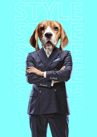 Style for everyone. Male body in black business suit with the dog head against blue background. Modern design. Contemporary art collage. Concept of fashion and animal, pets rights. Stock Photo