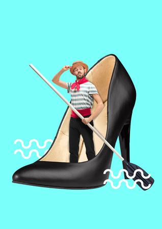 Boat shoes. Conquest of the deep sea. Male sailor with the paddle inside black female sandals on blue ocean background. Modern design. Contemporary art collage. Concept of fashion, style, beauty.