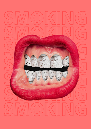 Lost youth. Female mouth with red lips and ash as a teeth on red background. Modern design. Contemporary art collage. Concept of no tobacco day, healthy lifestyle, smoking rejection, cancer awareness. Stock Photo