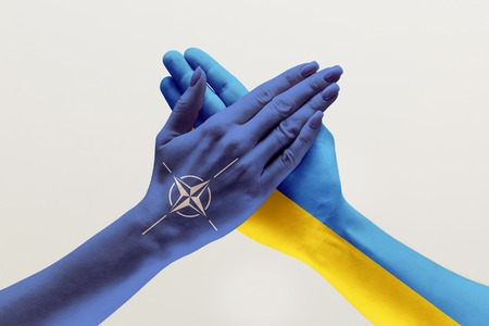 United forces, supporting. Male and female hands colored in flags of Ukraine and NATO isolated on white studio background. Concept of help, partnership of countries, political and economical relations.