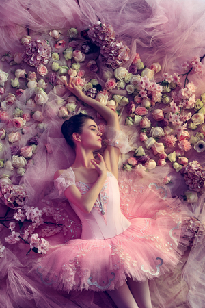 Waiting for happieness. Top view of beautiful young woman in pink ballet tutu surrounded by flowers. Spring mood, tenderness in coral light. Art photo. Concept of spring, blossom, natures awakening. Stock Photo