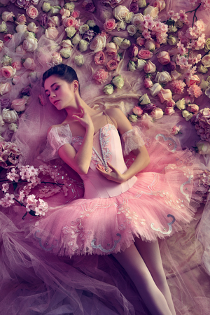 Finally thaw. Top view of beautiful young woman in pink ballet tutu surrounded by flowers. Spring mood and tenderness in coral light. Art photo. Concept of spring, blossom and natures awakening. Stock Photo