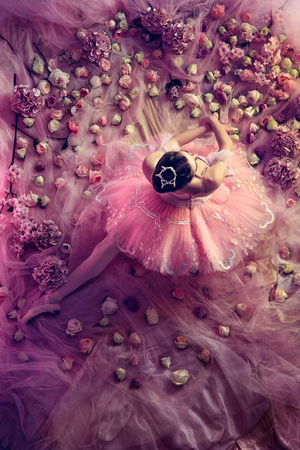 Soft at home. Top view of beautiful young woman in pink ballet tutu surrounded by flowers. Spring mood and tenderness in coral light. Art photo. Concept of spring, blossom and natures awakening. Stock Photo