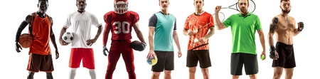 Sport collage. Tennis, badminton, soccer and american football, basketball, handball, boxing, MMA fighter concept. Fit woman and men standing isolated on white background.