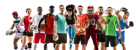 Sport collage. Tennis, running, badminton, soccer and american football, basketball, handball, volleyball, boxing, MMA fighter and rugby players. Fit woman and men standing isolated on white background. Stockfoto