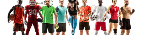 Sport collage. Tennis, running, badminton, soccer and american football, basketball, handball, volleyball, boxing, MMA fighter concept. Fit woman and men standing isolated on white background
