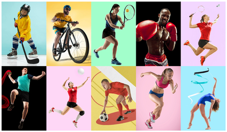 Sport collage about athletes or players. The tennis, running, badminton, rhythmic gymnastics, volleyball, boxing, handball, ice hockey, soccer football, cycling concept. Fit women and men in action or motion over trendy color background.