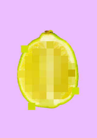 Keep the sour thing for you. Censored half of lime on pink background. Negative space to insert your text. Modern design. Contemporary art collage. Explicit image. Concept of free speech and choice. Stock fotó
