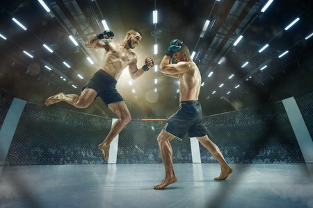 Last moment before winning. Two professional fighters posing on the sport boxing ring. Couple of fit muscular caucasian athletes or boxers fighting. Sport, competition and human emotions concept.