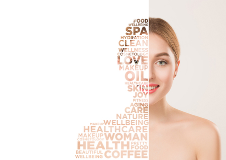 Beauty woman face portrait. Beautiful female model with perfect clean skin isolated on white studio background. Concept of wellness, fitness, skincare, cosmetics, dermatology and healthy lifestyle.