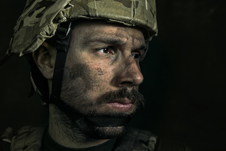 Close up portrait of young male soldier. Reklamní fotografie