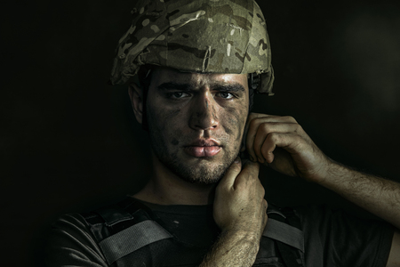 Close up portrait of young male soldier Stockfoto
