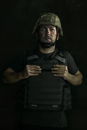 Close Up retrato de joven soldado