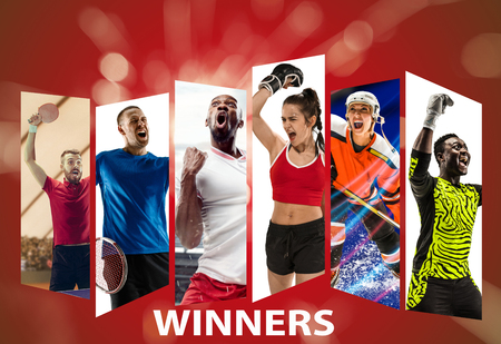 Winners. Young tennis, basketball, football or soccer, hockey, box players in action on red