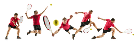 Getting higher. Caucasian young tennis player of red team in action and moving over white studio 写真素材 - 122343292