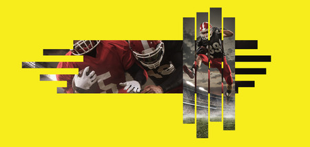 American football players in action against yellow copyspace Fit caucasian men in uniform fighting for goal. Human emotions and facial expressions, sport, movement concept. Creative collage.