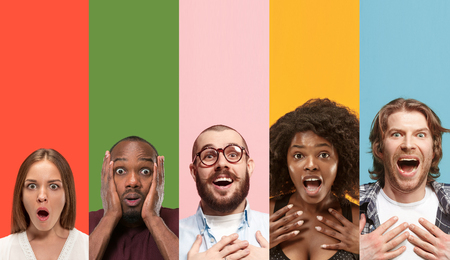 Young attractive people looking astonished on multicolored backgrounds. Young emotional surprised men and women. Human emotions, facial expression concept. Trendy colors. Creative collage.