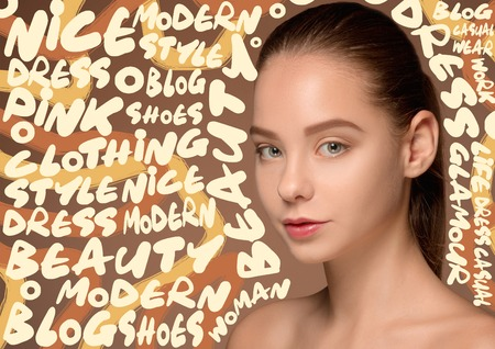 Beauty woman face portrait. Beautiful female model with perfect clean skin isolated on studio background. Concept of wellness, fitness, beauty. Thinking of dress, shoes, blog, fashion, clothing. Stockfoto