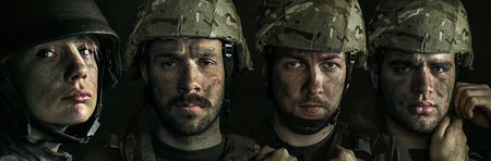 Portrait of young male and female soldier. Men and woman in military uniform on the war. Depressed and having problems with mental health and emotions, PTSD, rehabilitation. Creative collage. Stock Photo