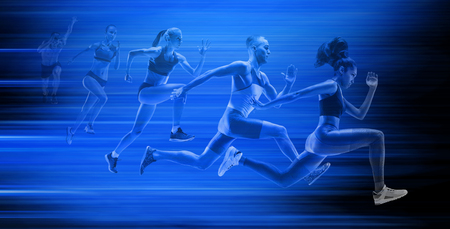 Young african-american and caucasian man and woman running isolated on blue studio background. Silhouette of jogging athletes with shadows in neon light. Movement or motion. Creative collage.