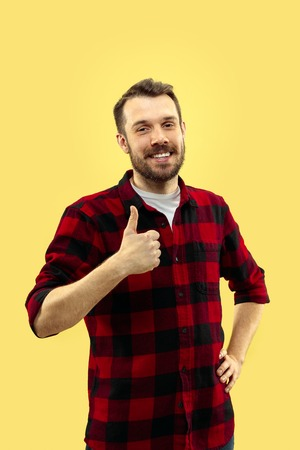 Half-length close up portrait of young man in shirt on yellow background. The human emotions, facial expression concept. Front view. Trendy colors. Negative space. Smiling and showing a sign of OK. Stock Photo