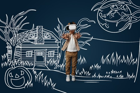 Painted dream about fighting with zombies or joining them. Little boy or child with virtual reality headset glasses. Concept of cutting edge technology, video games, innovation, childhood, dreams.