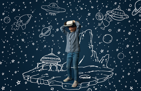 Painted dream about traveling in outer space or cosmos. Little girl or child with virtual reality headset glasses. Concept of cutting edge technology, video games, innovation, childhood, dreams. Stock Photo