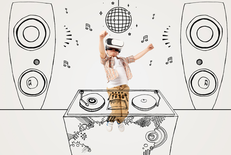 Painted dream about being dj or jazz dancer at the disco. Little boy or child with virtual reality headset glasses. Concept of cutting edge technology, video games, innovation, childhood, dreams.