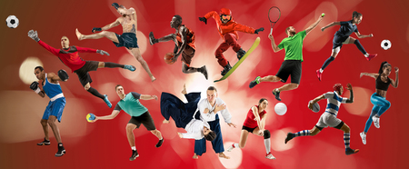 Sport collage. Tennis, running, badminton, soccer and american football, basketball, handball, volleyball, boxing, MMA fighter and rugby players. Fit women and men standing on red background