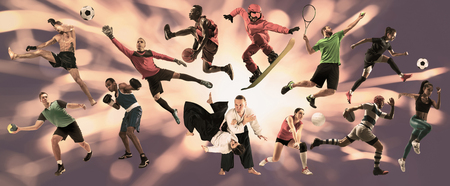 Sport collage. Tennis, running, badminton, soccer and american football, basketball, handball, volleyball, boxing, MMA fighter and rugby players. Fit women and men standing on purple background