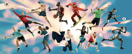Sport collage. Tennis, running, badminton, soccer and american football, basketball, handball, volleyball, boxing, MMA fighter and rugby players. Fit women and men standing on blue background