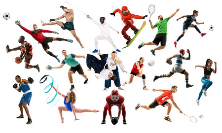 Sport collage. Tennis, running, badminton, soccer and american football, basketball, handball, volleyball, boxing, MMA fighter and rugby players. Fit women and men standing isolated on white background