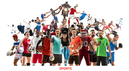 Collage sportif. Joueurs de tennis, course à pied, badminton, football et football américain, basket-ball, handball, volley-ball, boxe, combattant MMA et rugby. Monter les femmes et les hommes debout isolés sur fond blanc