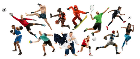 Sport collage. Tennis, running, badminton, soccer and american football, basketball, handball, volleyball, boxing, MMA fighter and rugby players. Fit women and men standing on white background