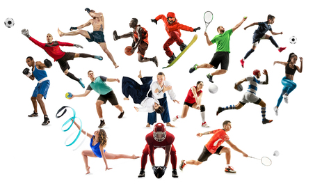 Sport collage. Tennis, running, badminton, soccer and american football, basketball, handball, volleyball, boxing, MMA fighter and rugby players. Fit women and men isolated on white background Imagens