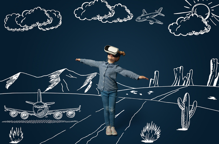 Painted dream about flying as an aircraft in desert. Little girl or child with virtual reality headset glasses. Concept of cutting edge technology, video games, innovation, childhood, dreams.