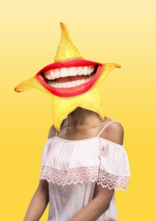Female body in white dress headed by a carambola with perfect smile against yellow background. Negative space to insert your text. Modern design. Contemporary art collage. Vacation, summer, resort. Standard-Bild