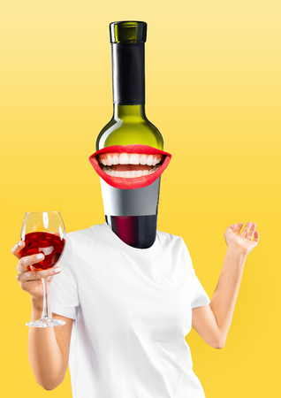 Female body in white shirt headed by a bottle of red wine with perfect smile on yellow background. Negative space to insert your text. Modern design. Contemporary art collage. Vacation, summer, resort. Stock Photo