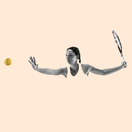 Portrait of young woman playing tennis isolated on studio background. Healthy lifestyle. Fitness, sport, action, advertising concept. Female model in motion or movement. Abstract design. 스톡 콘텐츠
