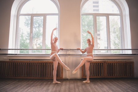 Young graceful female ballet dancers dancing at training studio. Beauty of classic ballet. Girls performing in front of the window in classroom. Pastel colors, concept of motion, movement, childhood.
