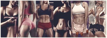 Atleta femenina joven muscular con cuerpos perfectos posando en el estudio. Concepto de estilo de vida saludable, deporte, culturismo, fitness, cross-fit. Collage de diferentes fotos de cuatro modelos. Foto de archivo