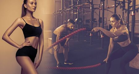 Muscular young female and male athletes, creative collage. Caucasian man and woman training at the gym with the rope. Concept of cross-fit, fitness, motion, sport, bodybuilding, weight loss.