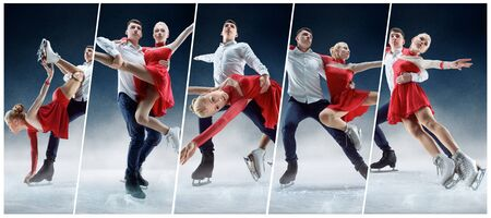 Professional grace man and woman figure skaters performing show or competition on ice arena. Creative collage with different photos of two models. Concept of motion, action, movement, sport. Stock Photo
