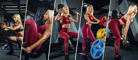 Muscular young female athlete, creative collage with the different photos of one model. Caucasian woman exercising at the gym. Concept of cross-fit, fitness, motion, sport, bodybuilding, weight loss.