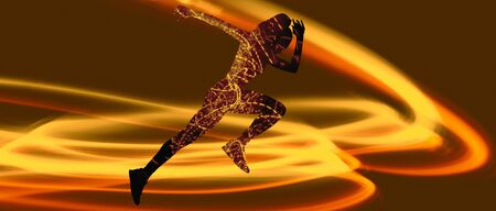 Caucasian female silhouettes of one professional runner running and jumping on braun studio background. The sprinter, fitness, jogger, exercise, workout, fitness, training, jogging concept.