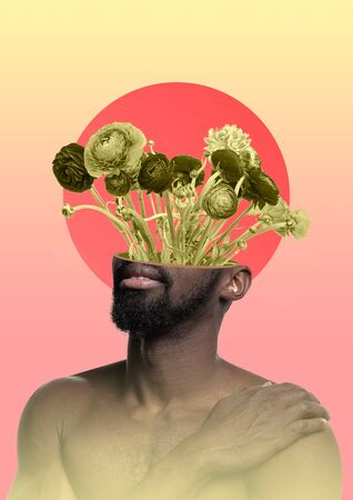 Male body of african-american model with the head full of thoughts about flowers and sunrise. Trendy neon light and gradient yellow-pink background. Modern design. Contemporary art collage.